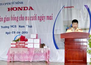 """Buổi sinh hoạt dưới cờ và hoạt động ngoại khóa tháng 4 tại trường THCS Nam Thái với chủ đề """"An toàn Giao thông cho nụ cười ngày mai"""""""